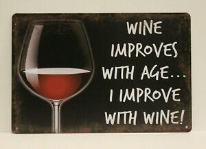 Wine Improves With Age Tin Sign Poster Decor Art Liquor Store Bar Funny I New