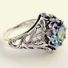 2.3ct Aquamarine Ring Women Men  925 Silver Wedding Vintage Prom Size 6-10