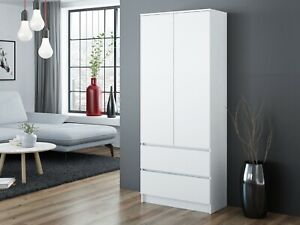 MODERN 2 Door Storage Wardrobe With Shelves And 2 Drawers - White
