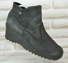 KEEN Akita Womens Black Leather Wedge Shoes Ankle Casual Boots Size 5 UK 38 EU