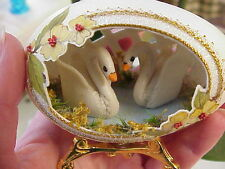 REAL Hand Carved Goose Egg Easter Gift Collectible Swan Lake Pansy Flower