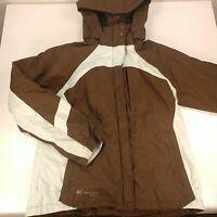 Women's Medium Columbia Sports Winter Jacket Hooded Brown Blue No Liner