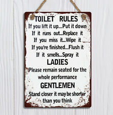 Toilet Rules funny bathroom Metal hanging plaques signs vintage grunge style