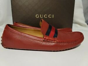 Gucci Red Auger Web Driving loafers Size 10 Rare color