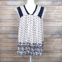 Lucky Brand Womens Top Sleeveless Tie Back Off White Blue Embroidery Size 2X