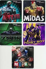 5 x Square Stickers ~ Real Steel Midas Noisy Boy Metro Zeus Atom Party Favours ~