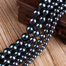 "Natural 8/10/12mm Rainbow Black South Sea Shell Pearl Loose Beads 15"" AAA+"