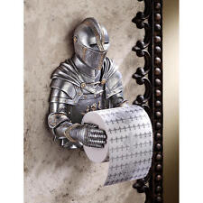 Medieval Flair Knight in Armor Wall Mounted Bathroom Toilet Tissue Paper Holder