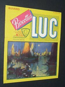 BUVARD 1960-1965 BISCOTTES LUC CHATEAUROUX PORT BRETON BATEAUX PECHE
