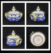 Pre-owned Cama Deruta Antico Italian Blue Floral Kitchen Garlic Jar