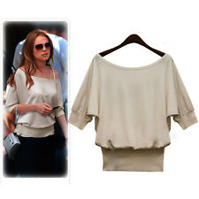 Womens Casual Plain Solid Scoop Neck 3/4 Sleeves Short Top Tee Apricot Large #1