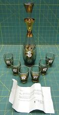 Murano Gray Glass Decanter with Raised Floral Design, Gold Paint, and 6 Glasses