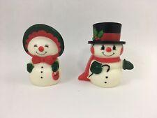 Vintage Snowman Salt & Pepper Shaker Holiday Figurines Mr & Mrs Snowman Hallmark
