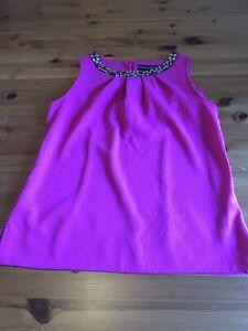 Dorothy Perkins Size 12 Cerise Pink Sleeveless Top Jewel Neckline Stretch