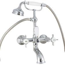 Traditional Chrome Wall Mounted Bathroom Bath Shower Mixer Tap Cross Head