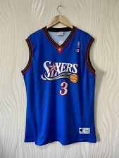 PHILADELPHIA SIXERS BASKETBALL SHIRT JERSEY CHAMPION NBA #3 IVERSON sz XXL