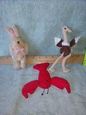 Ty Beanie Baby Original Pinchers Lobster, 1993, beanie baby ostrich, and rabbit.