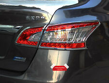 Chrome Trim Rear Light Tail Lamp Cover For Nissan Sentra 2013-2015