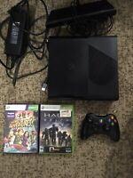 Microsoft Xbox 360 E 250GB Black Console 1538 Bundle Kinect 1 Controller 2 Games