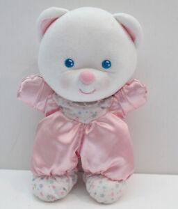 Vintage Fisher Price Pink Satin Bear Plush Stuffed Animal Baby Lovey Toy 1992