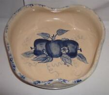 Ellis Prod Pottery Handcrafted Heart Shaped Bowl Blue Fruit Pattern Signed USA