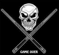 GAME OVER POOL BALL PLAY TABLE SKULL CUE STICKS T-SHIRT