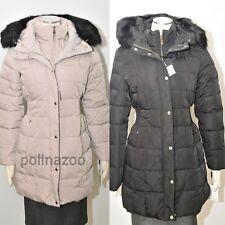 Calvin Klein puffer Faux Fur Trim Stretch Bib down Black Beige Coat $350