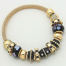 BEAUTIFUL Celeb Gold  Black Crystal STRETCH Charm Bracelet By Rocks Boutique