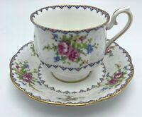 Royal Albert Petit Point China Small Demitasse Tea Cup & Saucer Set Gold Accent