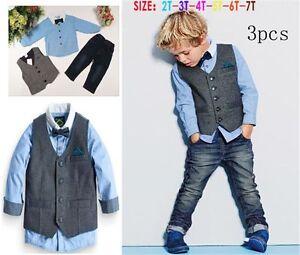 New!3PCS Baby Boys Gentleman Waistcoat + Shirt + Jeans Set Kids Clothes Outfits