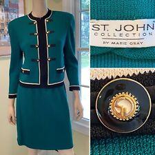 ST JOHN Size 8/Med Green Santana Stretch Knit 2-Piece Military Style SKIRT SUIT