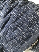 Designer Fashion Cotton Elastane Navy Blue White Jacquard Fabric by Yard 60in