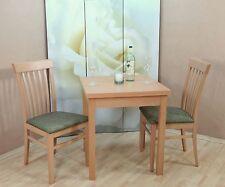 Essgruppe 3-tlg. Esstisch-Ausziehbar Stühle Stuhl Tisch Farbe: Buche-Natur/Oliv