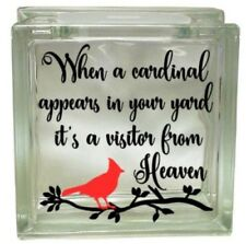 Cardinal Visitor from Heaven Glass Block Vinyl Decal Nightlight Gift Religious