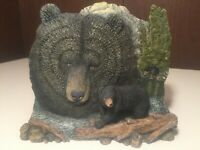 Hand Painted Black Bear Bookend Paperweight Display ~ Excellent Condition