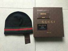 NEW Authentic GUCCI black Unisex Knit Beanie Hat Silk/Wool Blend