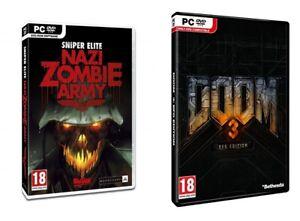 doom 3 bfg edition & sniper elite nazi zombie     new&sealed