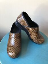Sanita Professional Clogs Gold Black Reptile Pattern Sz 37 US 6.5 or 7