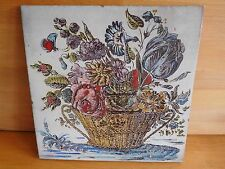 LARGE VINTAGE HANDPAINTED  TERRACOTTA FLORAL BASKET TILE WITH BUTTERFLY