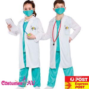 Kids Doctor Surgeon Nurse Child Book Week Vet Scientist White Lab Coat Costume
