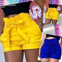 Women's Casual High Waisted SolidTie Short Mini Slim Beach Shorts Hot Pants NEW