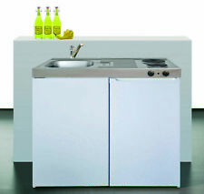 Stengel Mini Cucina Pantry Singolo 100cm Bianco Metallo Con Vasca Destra ME100