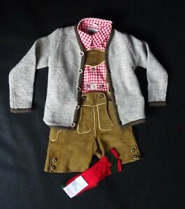 German Austrian  Boys Brown 4 pc. Brown Lederhosen Outfit 6-7 years