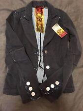 L.A.M.B. GWEN STEFANI Black Cotton Twill Denim Distressed Buton Jacket size 0 XS