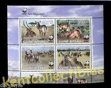 WWF Defassa Waterbuck endangered species minisheet of 4 mnh Guinea-Bissau 2008