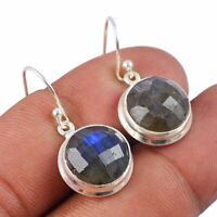 """Faceted-Labradorite Solid 925 Sterling Silver Earring Jewelry 1.2"""" AE-4275"""