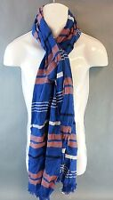 NEW Old Navy Blue Pink Stripe Wrap Scarf One Size Fringe Edge NWT Cotton & Rayon
