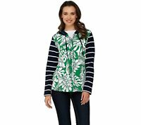 Susan Graver Weekend Printed French Terry Zip Front Hooded Jacket (Green, L)