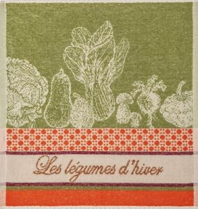 """Coucke """"Légumes D'Hiver"""", Cotton terry hand towel. Designed in France."""