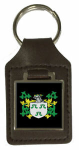 Hawker Family Crest Surname Coat Of Arms Brown Leather Keyring Engraved